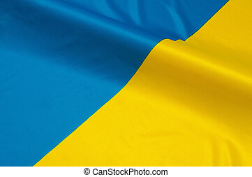 Ukrainian  Flag - Close up of flag of Ukraine