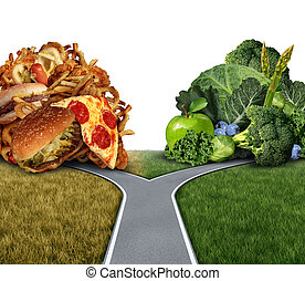 Diet Dilemma - Diet dilemma decision concept and nutrition...