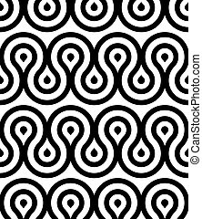 Grotesque waves seamless pattern, black and white retro...