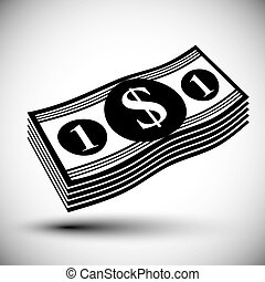 Dollars cash money stack vector simple single color icon