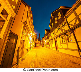 Colorful night scene in the Wolfenbuttel village. Facade of...