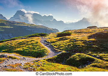 Colorful summer sunrise in the National Park Tre Cime di...