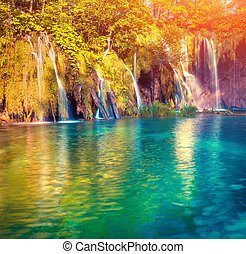 Colorful summer morning in the Plitvice Lakes National Park....
