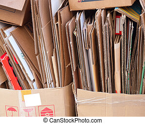 Cardboard Recycling - Closeup of broken cardboard boxes...