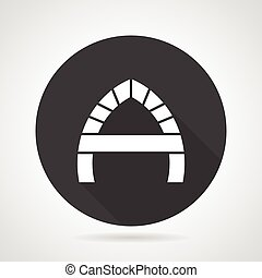 Arch with partition black round vector icon