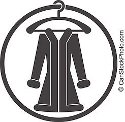 Cloth icon, vector illustration of woman coat