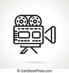 Movie camera black line vector icon - Black flat line vector...