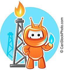 Natural Gas Industry Mascot - Natural gas producing industry...