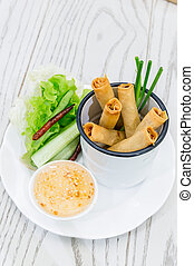Spring rolls - Thai Chinese Traditional deep Fried Spring...