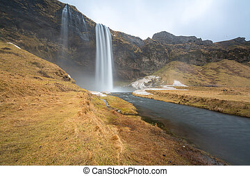 seljalandsfoss waterfall on the South of Iceland