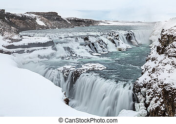 Gulfoss Waterfall Iceland Winter