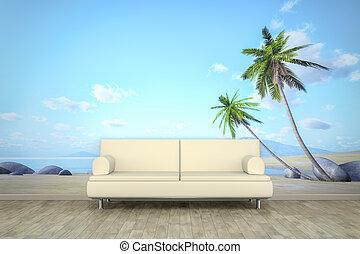 fotografia, ściana, ścienny, dłoń, Plaża, Sofa,...