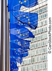 EU flag - Flags in front of the EU Commission building in...