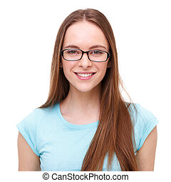 Beautiful young woman with glasses portrait isolated on...