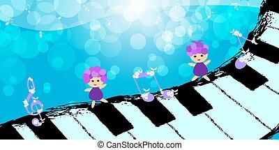 鋼琴, 跳舞, 孩子, 鍵盤