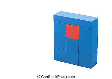 azul, concepto, diversidad, de madera, cubos, rojo