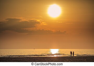 Versilia sunset - View of a Versilia sunset Sea and tourists...