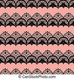 Pink and black lace seamless stripes pattern.