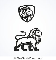 Lion logo sport mascot emblem vector design illustration -...