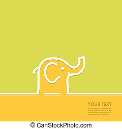 Line in the form of an elephant with space for text