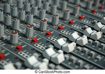 Sound mixing console - Audio mixing console in a recording...