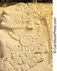 The Captive - Carved depiction in limestone of Mayan...