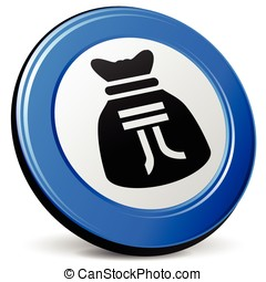 yuan bag icon - illustration of yuan bag 3d blue icon