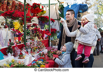 familia, en, navidad, justo,