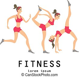 Vector yoga illustration set Women class center studio -...