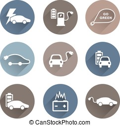 electric cars icons vector on white background