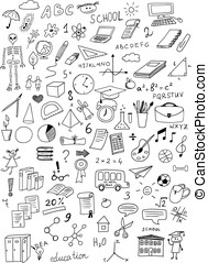 hand drawn education vector set on white background