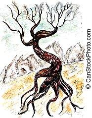 Dead Tree Sketch - Grunge sketch of a stylized dead tree,...