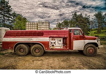 fuoco, vecchio, riprese, camion,  hdr