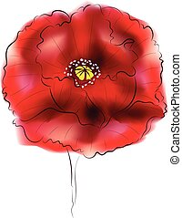 Digital Watercolor Poppy