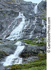 Waterfall in summer mountain (Norway)