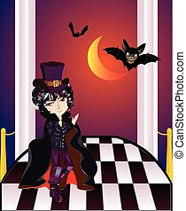 Vampire on Balcony - Cartoon vampire with bats on balcony...
