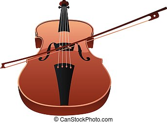 Violin with Bow - Classic violin with fiddle stick on white...