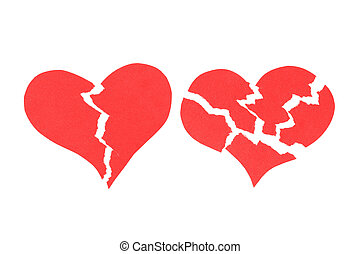 Two Broken hearts. Abstract color background.