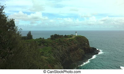 kilauea lighthouse at Kauai peninsula hawaii wide shot