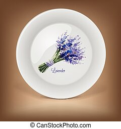 Decorative plate with bouquet of lavender.