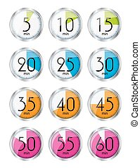 Silver Watch Designation Minutes Vector Illustration EPS10