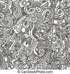 Photography doodles cartoon seamless pattern