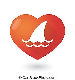 Heart icon with a shark fin
