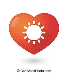 Heart icon with a sun - Illustration of a heart icon with a...