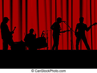 Rock band - Music background, black silhouettes against a...
