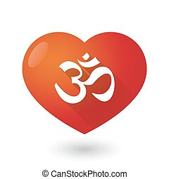 Heart icon with an om sign