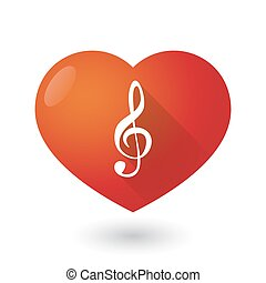 Heart icon with a g clef - Illustration of a heart icon with...