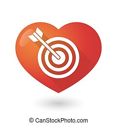 Heart icon with a dart board - Illustration of a heart icon...