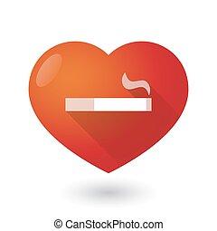 Heart icon with a cigarette