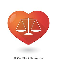 Heart icon with a weight scale - Illustration of a heart...